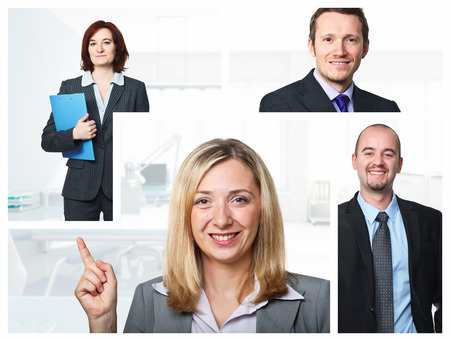 smiling caucasian  business people background photo