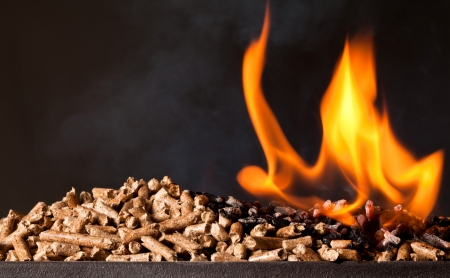 and heating: closeup image of wood pellets