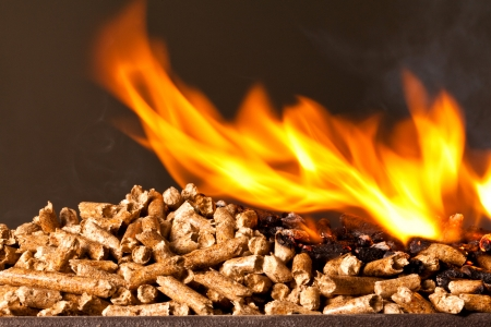 stove: closeup image of wood pellets