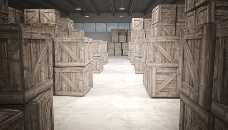 3d image of classic warehouse and wood boxes photo