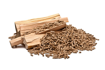 fire wood heat: closeup image of wood pellets