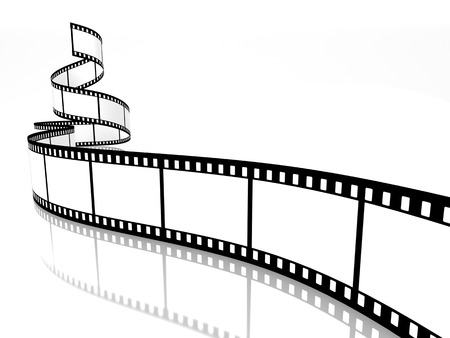 3d film: empty film strip on white background