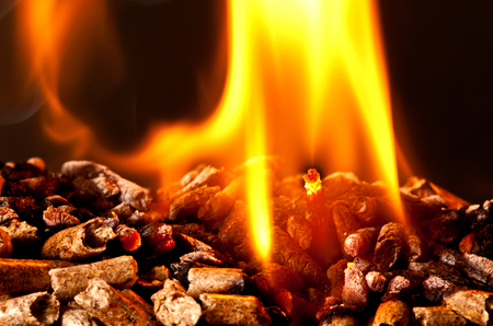 wood burning: closeup image of wood pellets