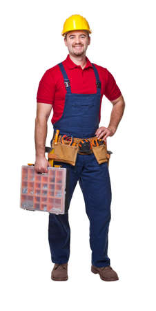 craftman: smiling manual worker isolated on white background