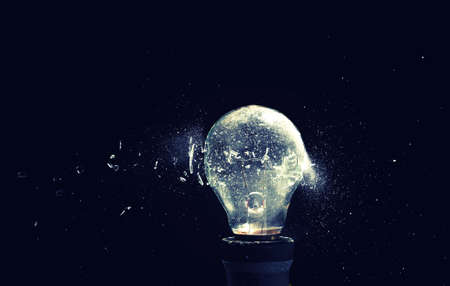 close up image of electric bulb explosion