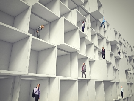 business people on 3d abstract architecture photo