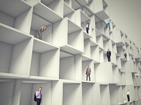 gente de negocios en una arquitectura abstracta 3d Foto de archivo
