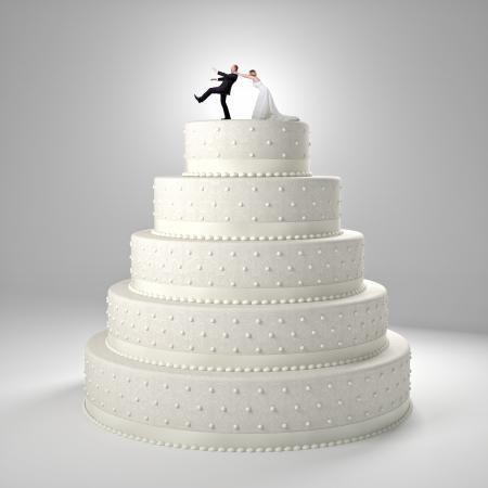clásico pastel de boda con el novio y la novia