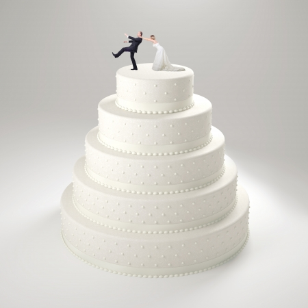 classic wedding cake with groom and bride photo