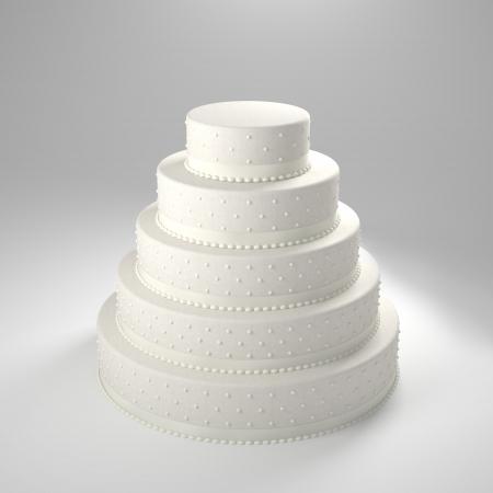 Imagen en 3D de la torta de boda clásica