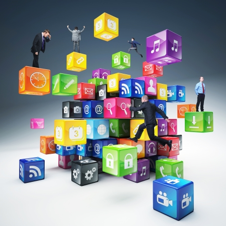 business people on abstract icons cubes photo