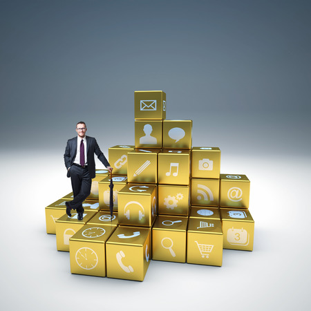 man on abstract cubes and icon set photo