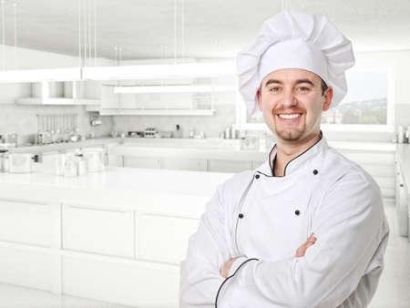 chef portrait and kitchen background photo