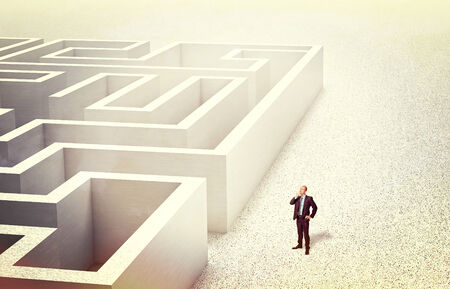 businessman look 3d abstract maze Stock Photo - 27077954