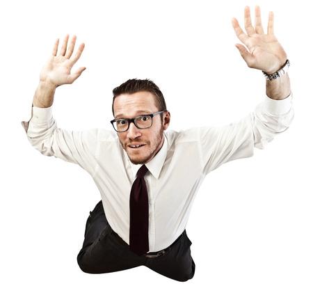 proble: falling businessman isolated on white background Stock Photo