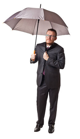 proble: man with umbrella isolated on white background