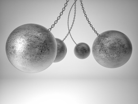 3d image of huge swinging metal ball Stock Photo