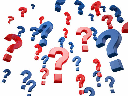 3d question mark on white background photo