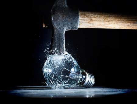 destroy: hammer tool destroy electric bulb high speed photo