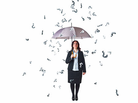businesswoman with umbrella and question mark rain on white photo