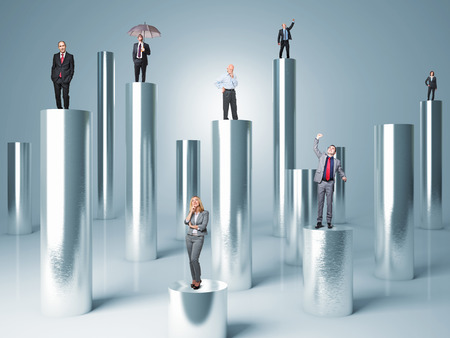 business people on metal abstract 3d cylinder photo