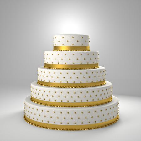 pastel de bodas de oro Imagen en 3D