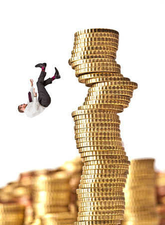 man fall from pile of euro coin  photo