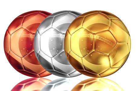 Gold silver and bronze brazilian soccer ball photo