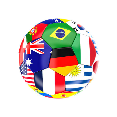 world cup: different country soccer ball 3d image on white