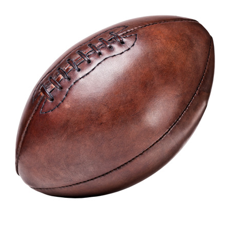 classic old leather football background Stock Photo