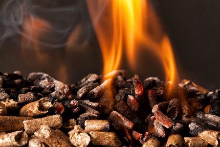 close-up beeld van houtpellets