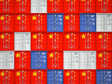 made in china: 3d image of classic container with china flag