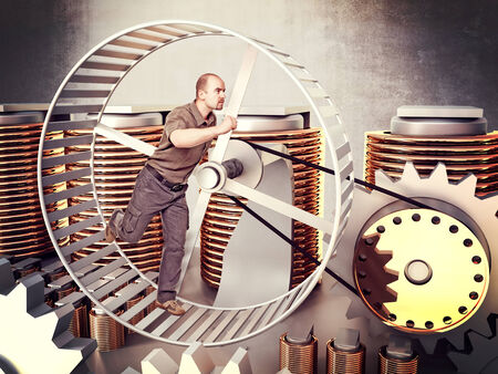 man run in a huge hamster wheel to produce power Stock Photo - 29917632