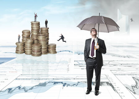 people on 3d business background Stock Photo - 29917726