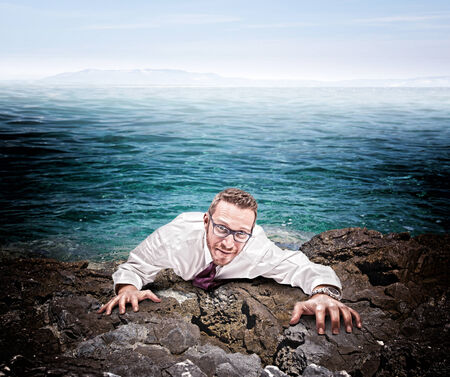 castaway: castaway businessman climb the cliff