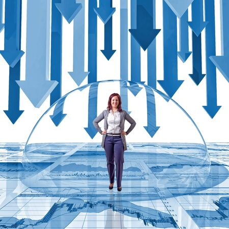 finance background: woman inside of glass bubble and finance background