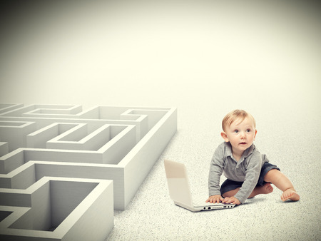 proble: portrait of kid with pc maze background