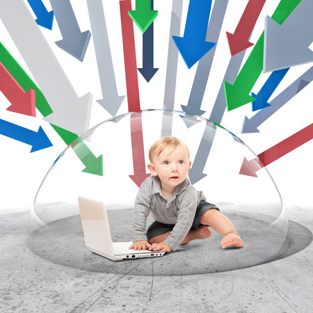 child protection: child with notebook inside of 3d protection bubble Stock Photo