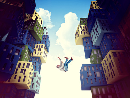 falling man: falling man and 3d abstract town