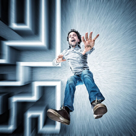 3d scary: falling man and abstract maze