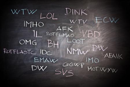 slang: internet slang on classic slate blackboard