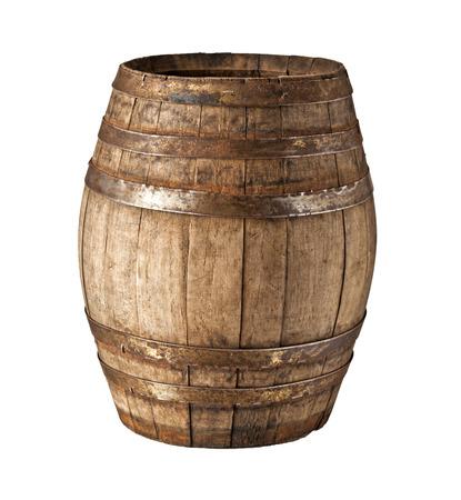 oak barrel: image of classic wood barrel on white background