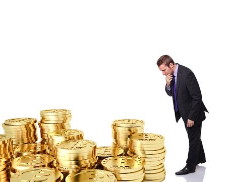 dubious: dubious man look golden bitcoin  Stock Photo