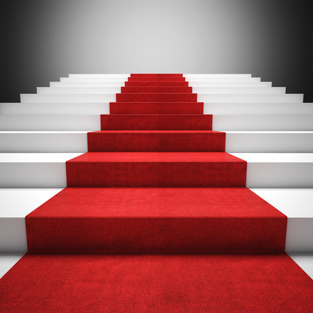 3d image of red carpet on white stair photo