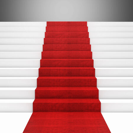 3d image of red carpet on white stair Stock Photo