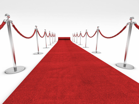 vip: red carpet and barrier rope on white Stock Photo