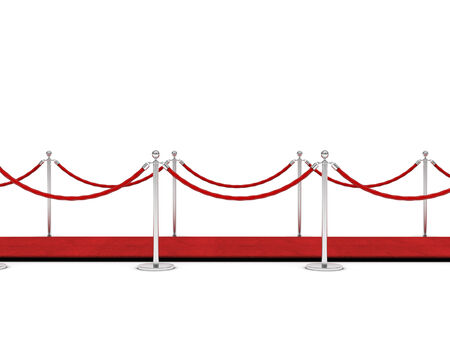 barrier rope: red carpet and barrier rope on white Stock Photo
