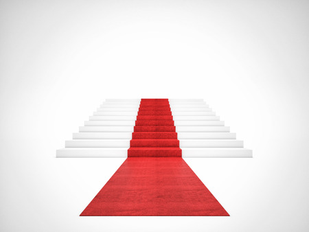3d image of red carpet on white stair Foto de archivo