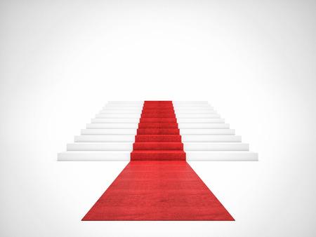 escalera: Imagen 3d de alfombra roja en la escalera blanca