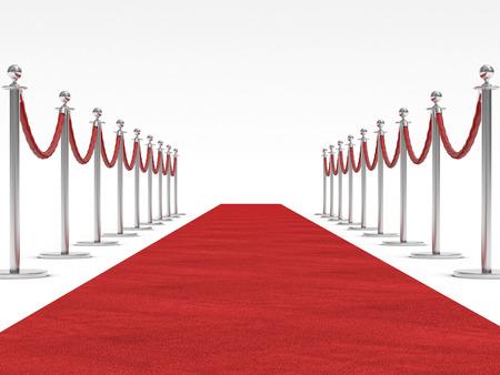 3d image of red carpet on white